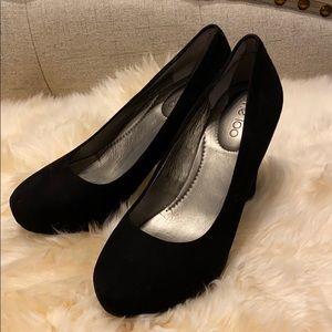 Black suede platform heels